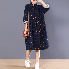 Loose Long Sleeve Polka Dots Autumn Dress