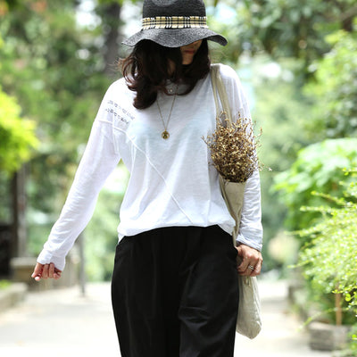 Loose O-neck Long Sleeve Letter Print Basic Tee