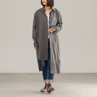 Loose OL Cotton Polyester Female Long Gray Shirt