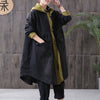 Loose Patchwork Pocket Hooded Long Coat