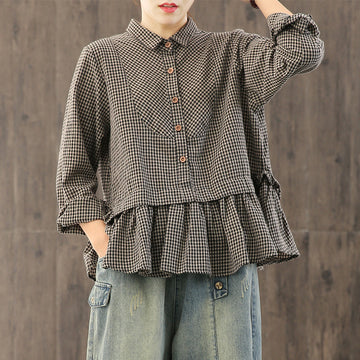 Plus Size - Loose Plaid Ruffle Splicing Cotton Linen Shirt
