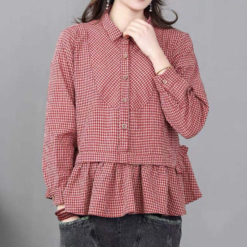 Loose Plaid Cuffle Splicing Turn-down Collar Shirt