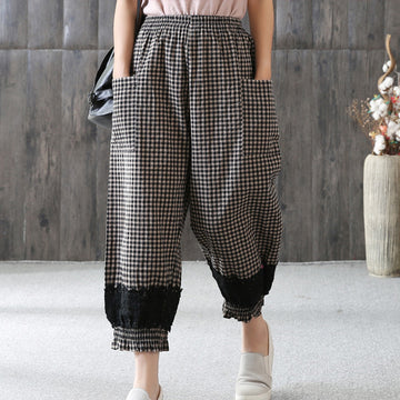Loose Plaid Lace Casual Women Ankle Pants