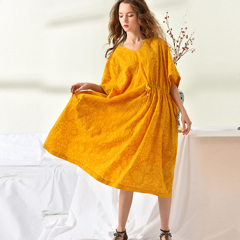 Loose Plus Size Cotton Pullover Solid Two Piece Dress