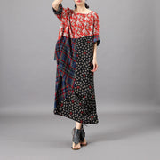 Loose Print Floral Vintage Silk Dress
