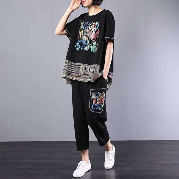 Loose Print Short Sleeve Blouse And Pants