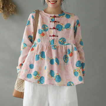 Loose Printed Chinese Buttons Casual Blouse