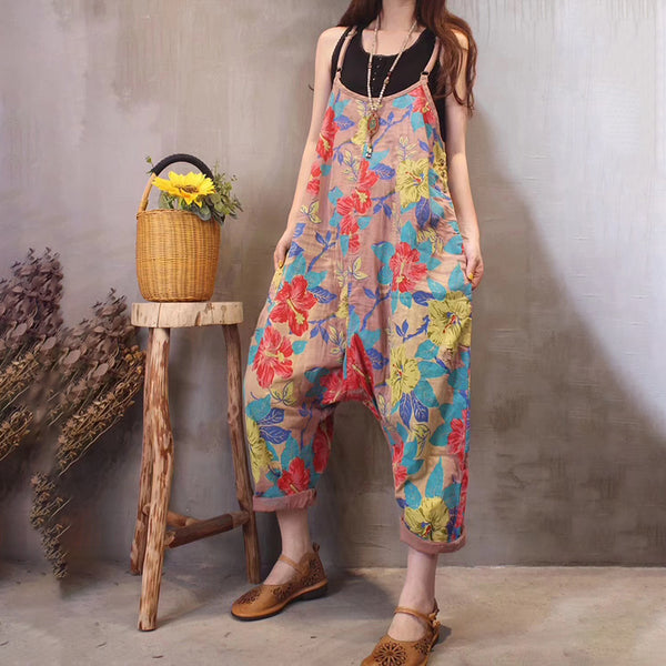 Plus Size Printed Romper Jumpsuit Drop Crotch Linen Overalls