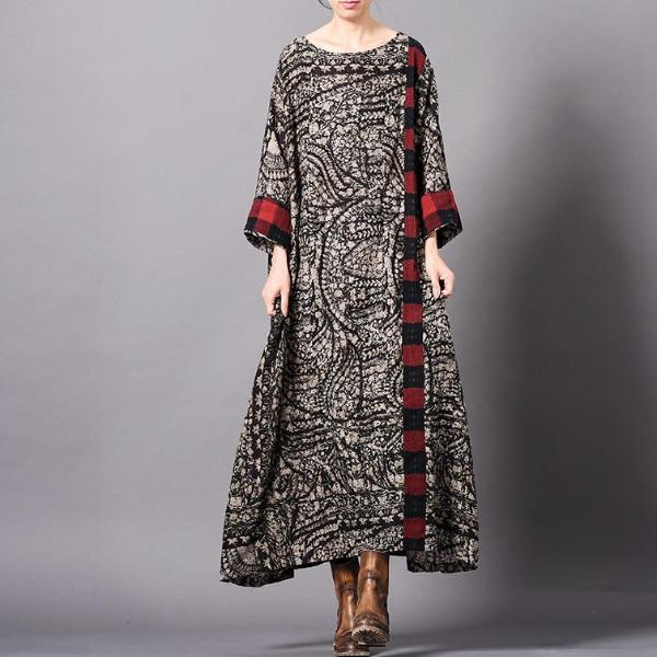 Loose Printing Splicing Plaid Dress