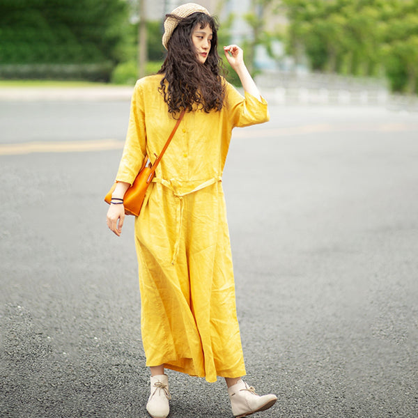 Loose Pure Color Adjustable Waist Jumpsuit
