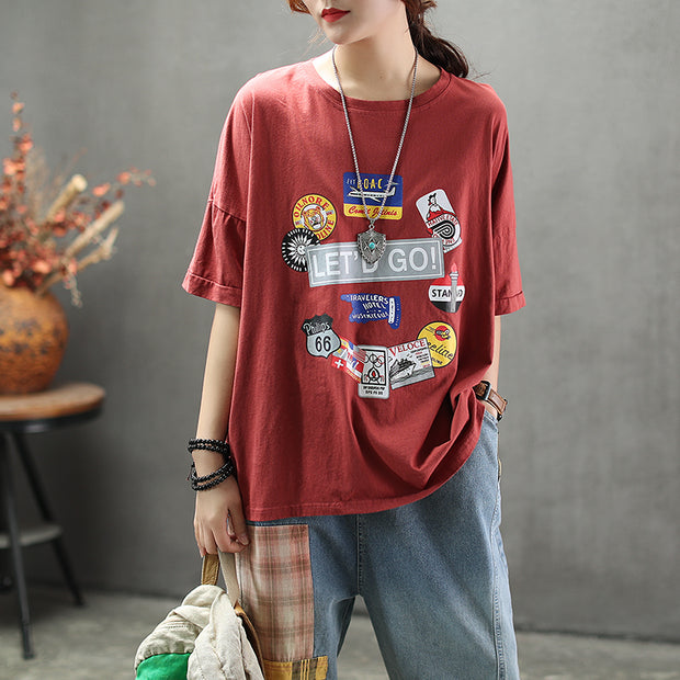 Loose Round Neck Cartoon Printed T-Shirt
