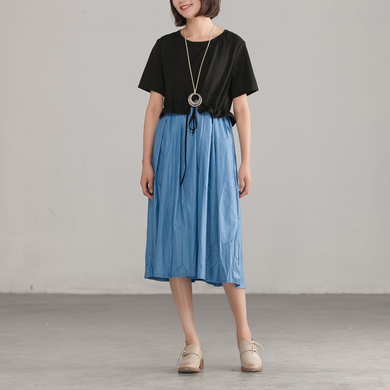 Loose Round Neck Commuter Splicing Cotton Dress