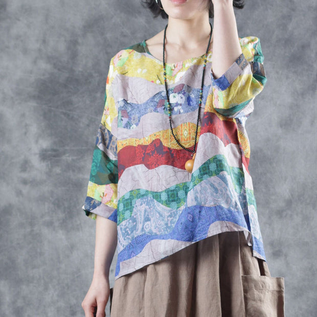 Loose Round Neck Print Linen Blouse
