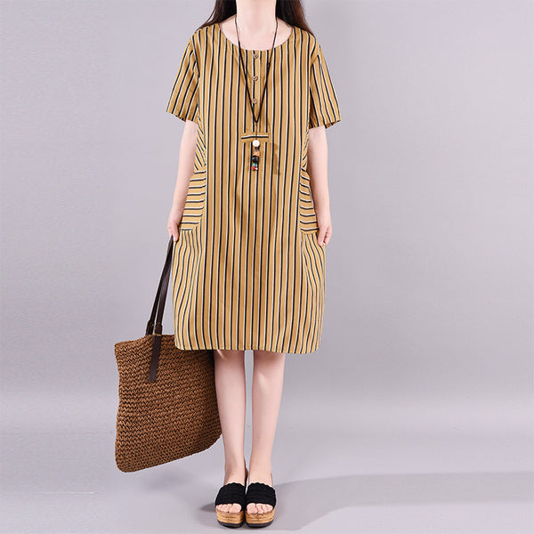 Loose Round Neck Striped Short Sleeve Dress