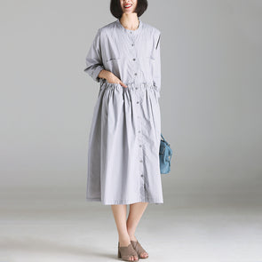 Loose Single Breasted Gray Solid Polyester Dress