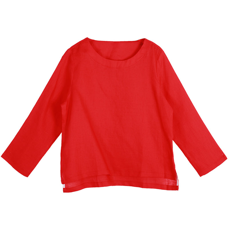 Loose Solid Casual Long Sleeve Plus Size Blouse