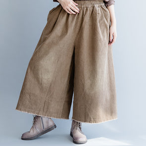Loose Solid Cotton Casual Fall Wide Leg Pants