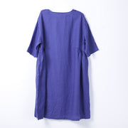 Loose Solid Pleated Pocket Women Summer Dress