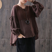 Loose Spliced Casual Lantern Sleeve Shirt