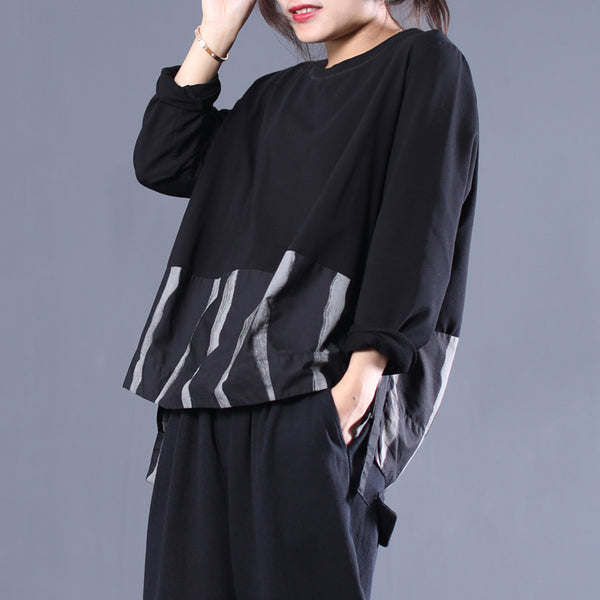 Loose Spliced Striped Long Sleeve Shirt