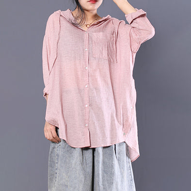 Loose Thin Women Hooded Shirt Transparent