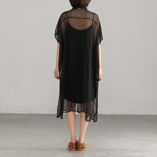Loose Transparent Button Commuter Black Dress