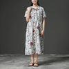 Loose V-neck Short Sleeve Drawstring Linen Dress