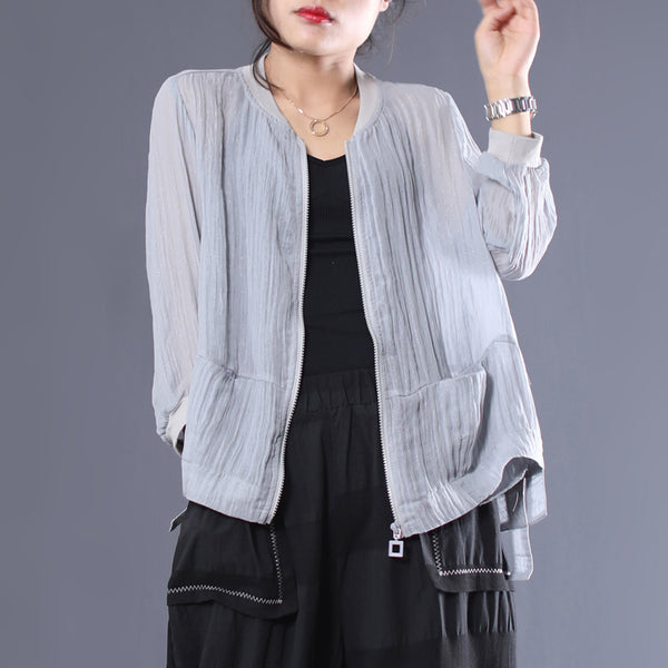 Loose Zipper Solid Polyester Long Sleeve Coat