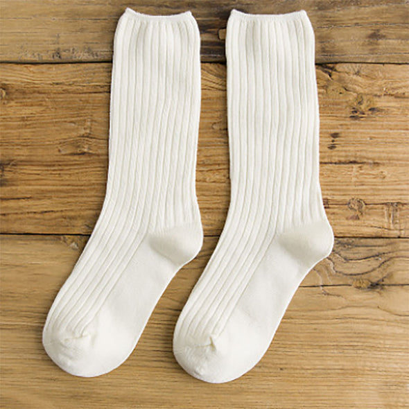 Women Autumn Winter Cotton Casual Thick Solid Warm Socks - Buykud