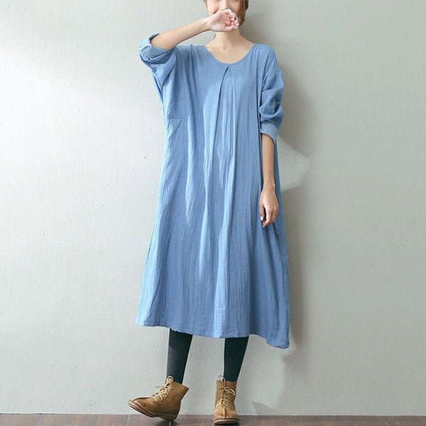 Women casual loose fitting cotton linen dress - Buykud