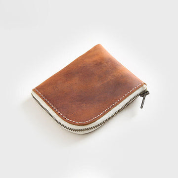 Male Leather Solid Color Mini Zipper Wallet