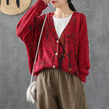 Map Printed Casual Loose Knit Coat
