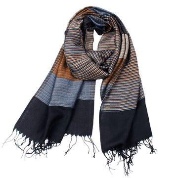Men Color Stitching Striped Tassel Scarf