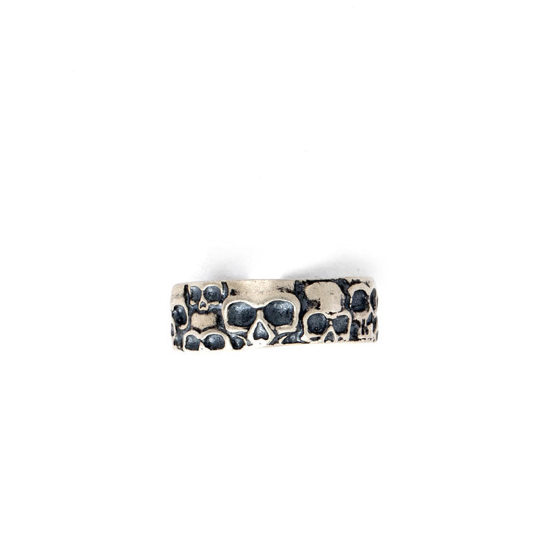 Men Fashion Silver Skull Adjustable Open Ring