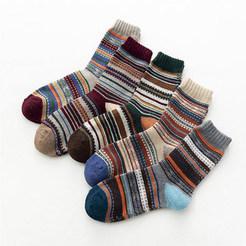Men Winter Warm Thick Striped Socks(5 Pairs)