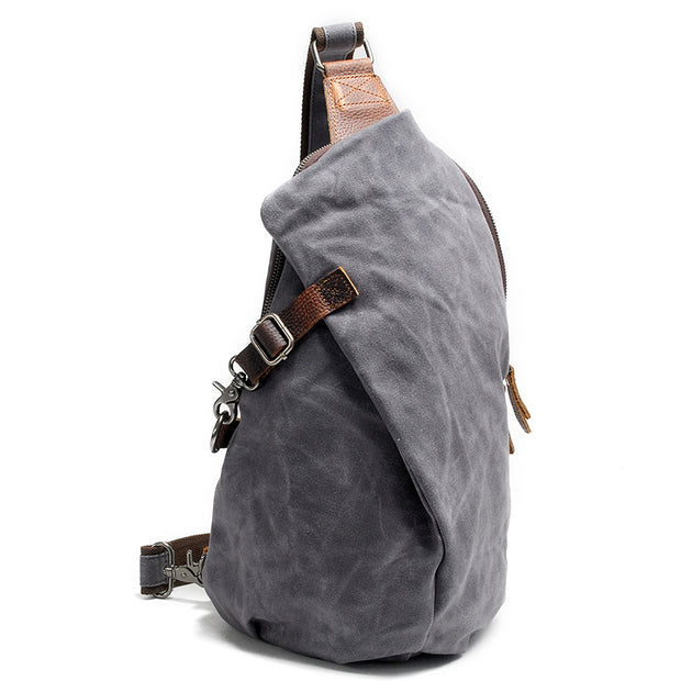 Men Canvas Traval Shoulder Bag Chest Bag