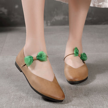 Mesh Bowknot Solid Color Leather Flat Shoes