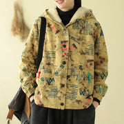 Messy Letter Design Casual Warm Coat