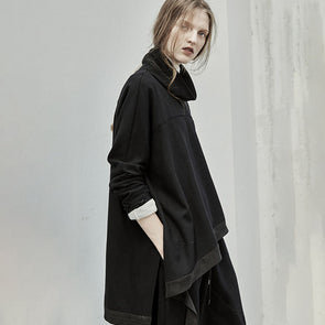 Mid-length Oversize Sweatshirt with Asymmetrical Hem