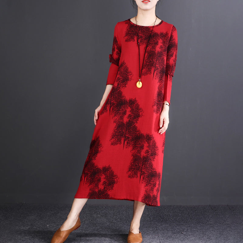 Midi Retro Round Neck Long Sleeve Autumn Dress