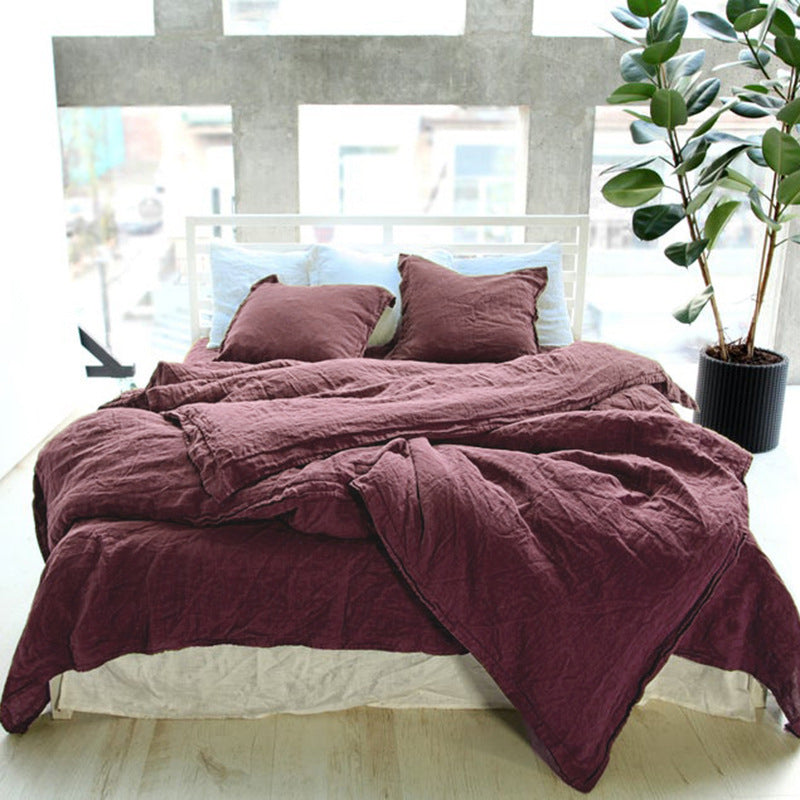 Natural Linen Solid Color Single Piece Quilt Cover