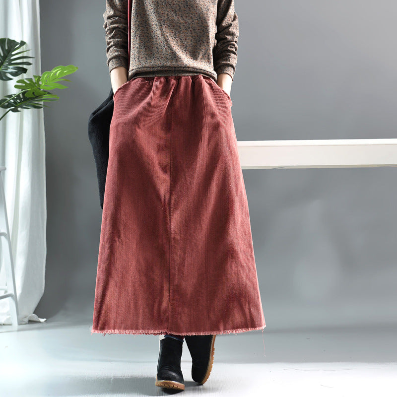 Natural Burrs Design Casual Corduroy Skirt