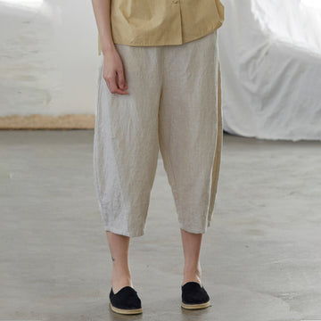 Plus Size - Casual Solid Color Linen Harem Pants