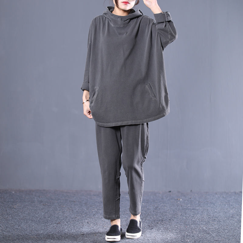 d4093d333f2 New Female Gray Hoodie And Casual Pants