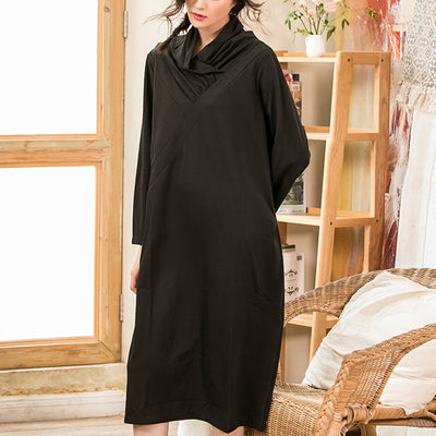 New Half High Collar Autumn Black Dress