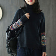 New Half Turtleneck Long Sleeve Patchwork Sweater