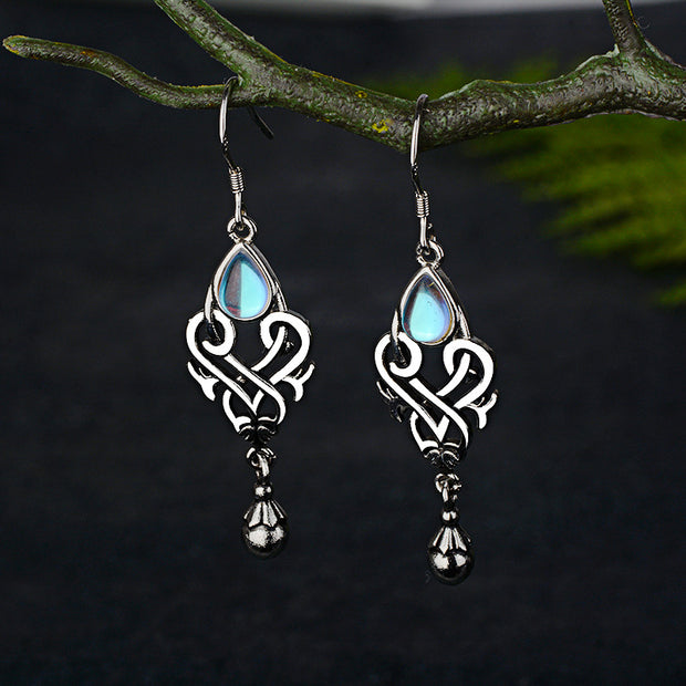 New Inlaid Colorful Moonstone Pear-shaped Earrings