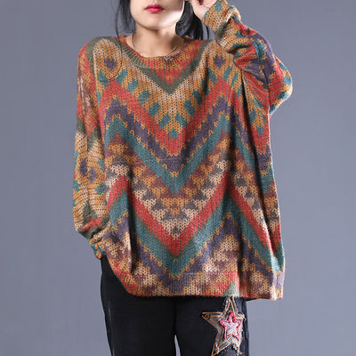 New Loose Casual Geometric Women Sweater