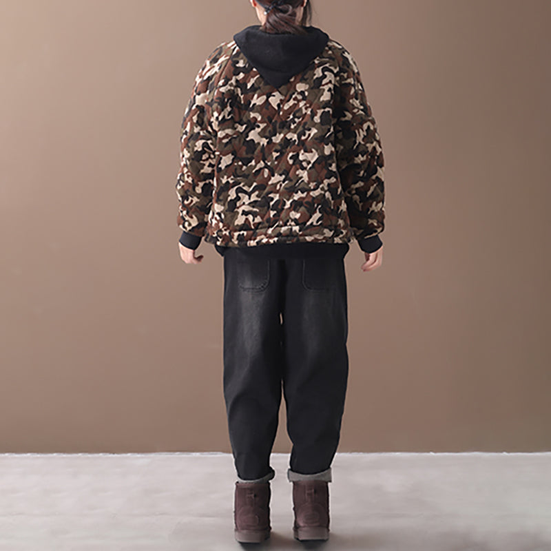 New Loose Literary Camouflage Corduroy Coat