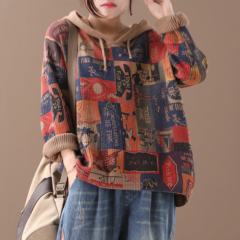New Loose Retro Printed Pattern Sweater